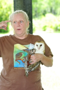 The local bird rescuer, Sheree Etie, volunteering to teach the campers about her owls.