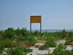 sign on Bastrop Island cabin island close resized